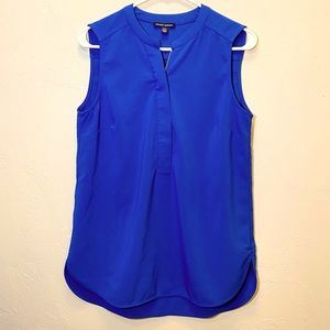 Sleeveless Blouse Zip Front Top Royal Blue